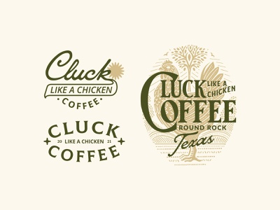 Cluck Coffee Texas product packaging coffee shop coffee badge design badge logo flat illustration illustration hand drawn typography vector branding vintage vintage design adobe illustrator illustrator graphicdesign design flatdesign