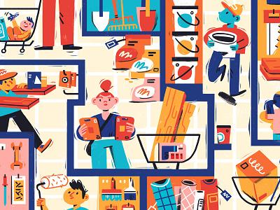 DIY Maze shopping characterdesign characters handmade bricolage diy photoshop illustration editorial