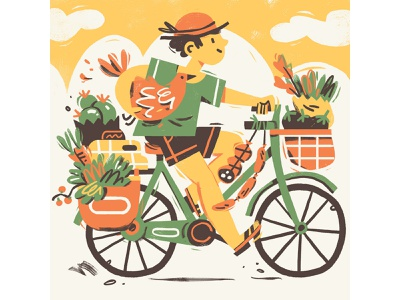 Farmer's Market character buy local food km0 farmer market bike photoshop illustration editorial