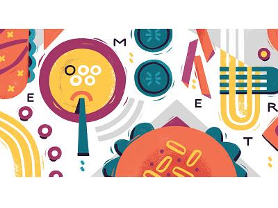 Geometric Menu pasta soup hamburger fastfood food photoshop illustration editorial