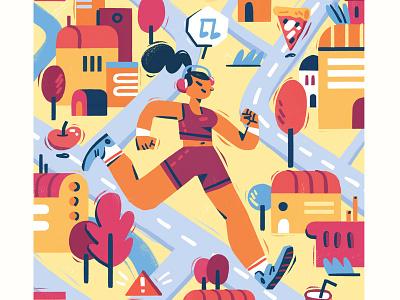Smart Running city sport marathon workout running photoshop illustration editorial
