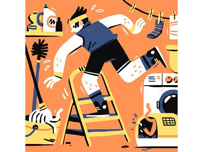 Home Workout quarantine social distancing workout digital art illustration editorial