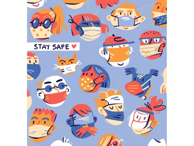 Stay Safe people faces characterdesign stay safe pattern social distancing mask digital art illustration editorial