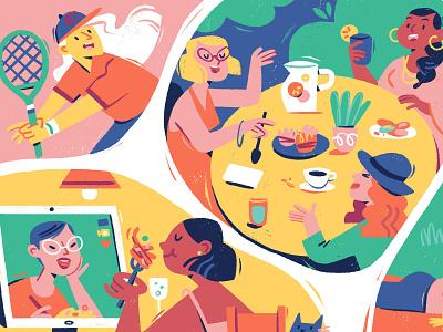 Social Distancing Activities stay safe social distancing summer digital art illustration editorial magazine