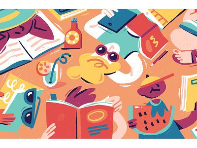 Summer Reading List photoshop books reading summer digital art editorial illustration magazine