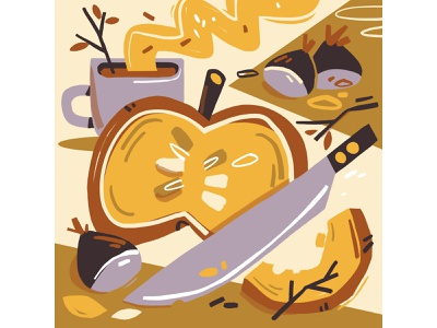 Autumn comfort food limited colour palette food and drink pumpkin autumn food illustration food editorial illustration photoshop editorial illustration