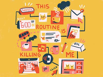 New Habits snooze freelance life routine habits photoshop editorial illustration editorial illustration