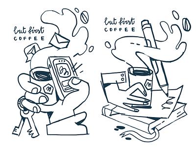 But first coffee! procreate line art illustration hands coffee break coffee cup sketching process sketching coffeeshop digital art editorial illustration illustration