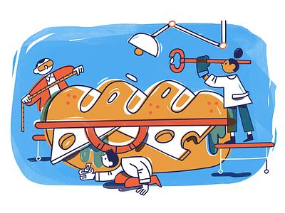 What Makes a Perfect Sandwich style frame analysis digital art lab adobe illustrator characters sandwich science lab data food vector character design illustration