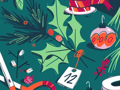 Getting ready for Christmas! advent calendar christmas design editorial illustration illustration decor wreath