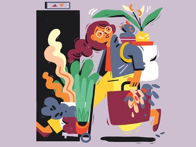 Moving Potted Plants moving house plants people illustration magazine illustration character design editorial illustration illustration