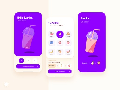 Smoothie app concept fruits fruit branding illustrations illustrator vector icon ui design smoothie illustration app
