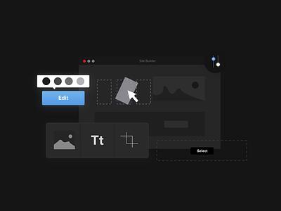 Dark Mode Custom UI Illustrations easy to use drag and drop builders choose adjust settings builder site builder gradient vector illustration landing page dark mode dark ux ui