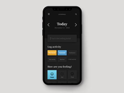 Journal App mobile app mobile app development dark app dark mode dark diary app journal app digital diary diary digital journal journal app concept app design ux ui