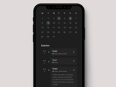 Journal App Calendar Overview Page product uxdesign uidesign app design mobile app app dark black clean ux ui