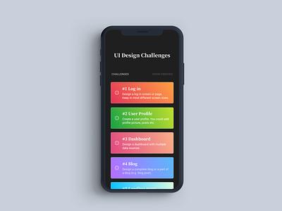 UI Design Challange App light gradients app design icon ui web ios guide mobile app design dark app mobile app gradient dark mode app dark clean uiux minimalism landing page ux ui