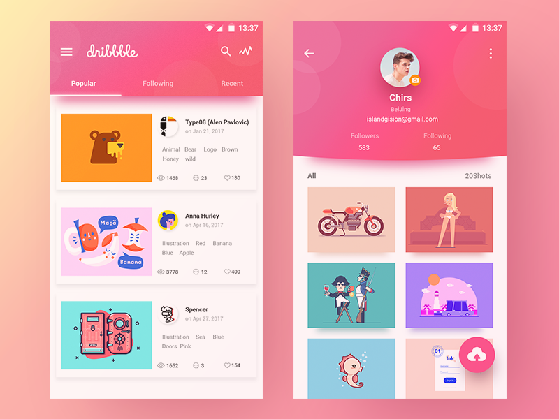 Dribbble Concept Design color personal material design dribbble pink