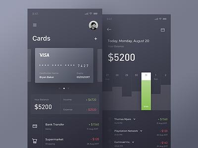 Finance app bitcoin account interface banking ux ui layout finance iphone x data statistics bank dark app