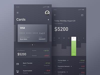 Finance app animation design statistics dark gif iphonex ux ui design animation app finance