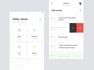 To do tasks statistics profile mobile chart to-do events list layout ux ui iphone