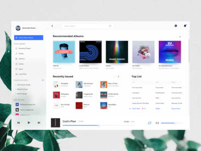 Music Player Client fluent design client typography grid ui web music player