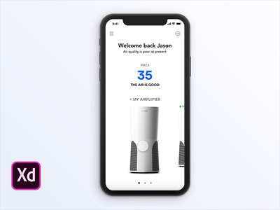 Air Purifier(Xd) ux iphone air purifier animation design app ui