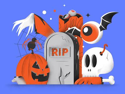 Spooky Spooky Doo!! scary pumpkin skull sailhostudio editorial textures colors illustration halloween doodle