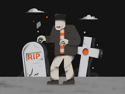 The Monster! frankenstein vector colors doodle editorial halloween illustration