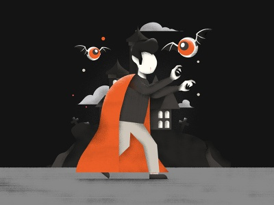 Drakulaaa! bat textures vector scary sailhostudio doodle halloween dracula illustration editorial colors