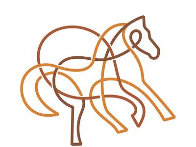 Horse mark illustration animal orange monoline lines horse symbol design monogram brand branding logotype logo
