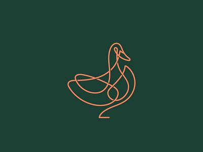 Monoline duck mark symbol design monogram brand branding logotype logo duck logo duck line monoline