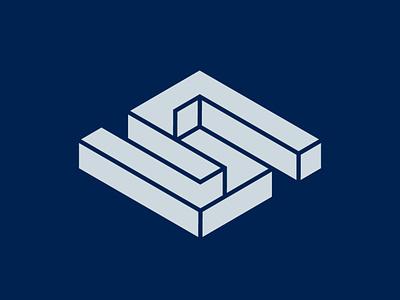 Isometric S letter mark design symbol monogram brand branding logo isometric isometry logotype letter s