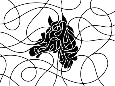 Lined Horse brush animal brand branding vector design illustration graphic lined lines horse
