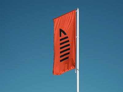 Diagram Constructions Flag Design orange flag tower corporate brand identity brand branding logotype logo