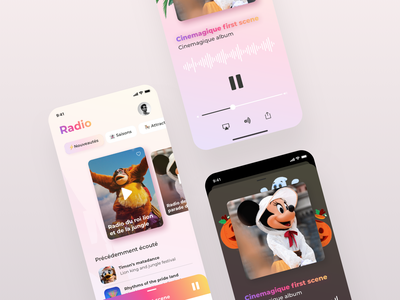 Disney Radio App mobile disney music player radio design ui app