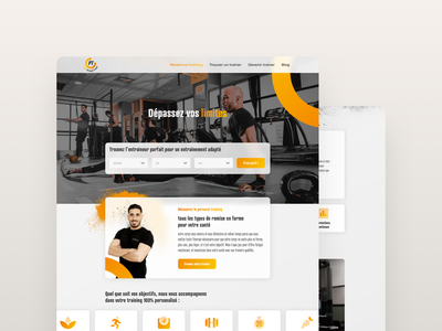 Personal Training Landing Page hire service coach trainer fitness training personal page landing ui design