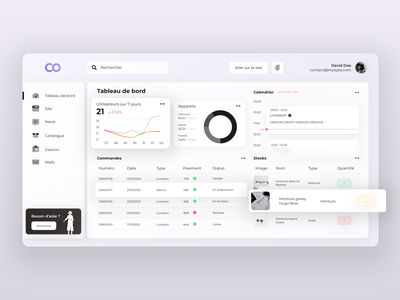 Sales Dashboard App UI gestion shop e-shop dashboard sales cms app agency ui design