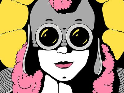 Nine of Cups goggles woman figurative line colorful illustration tarot card tarot
