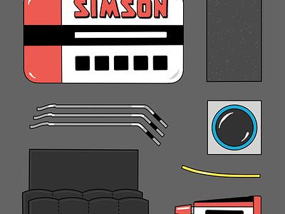 Bicycle Repair Kit kit repair glue simson bicycle bike line colorful illustration