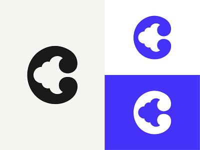 C + Cloud monogram data branding c logo letter startup cloud blue black logotypes logo lettermark