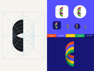 C + Loop app branding app icon design minimalist logo geometric logos mark symbol grid blue yellow green red colorful loop c letter logotype lettermark brand logo