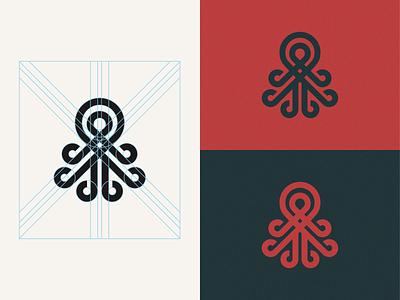 Octopus minimalist logo logomark logogram app icon geometry animal logo grids branding blue red logotype logo octopus