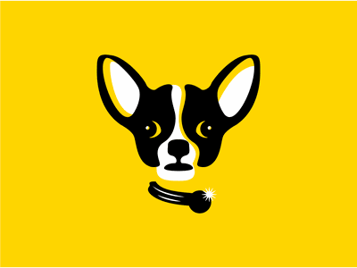 Chihuahua branding negative space puppy black yellow logo doggy pet dog