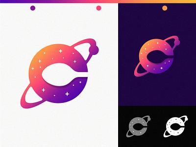 Cook Universe spoon negative space gradient logotype kitchen planet universe food cook logomark logo branding