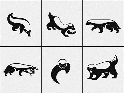 Honey Badgers Exploration white logomark negative space animal branding logotype logo black ratel honey badger