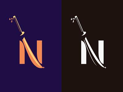 N + Katana blade japan sword purple orange ninja samurai katana letter lettermark logotype logo