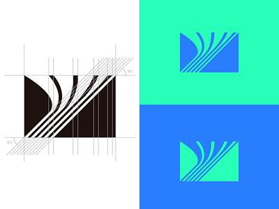 Data stream + y letter minimal design logomark communication design branding and identity geometric design black blue teal logotipe logo lettermark data stream
