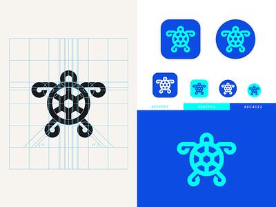 Turtle mark symbol branding and identity app design animal geometric logos minimalist logo app icon design app branding teal blue logotype logo