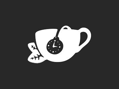 Tea Time tea store logo tea bag black leaves logotype cup loose leaf tea branding clock time tea