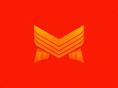 M Letter logomark mark branding design gradient m letter yellow red logo design brand logotype logo